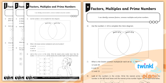 new  differentiated common factors common multiples and prime numbers new  differentiated common factors common multiples and prime numbers  worksheets  worksheets