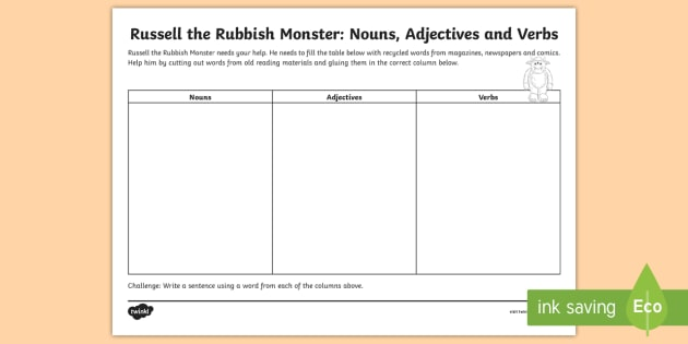 English: Nouns, Adjectives and Verbs Worksheet - worksheet ... on can could able to be worksheets, common proper noun worksheets, kindergarten adjective worksheets, adjectives comparative superlative worksheet, kindergarten noun and verb worksheets, cut and paste verb tenses worksheets, types of nouns worksheets, proper adjectives worksheets, singular vs plural nouns worksheets,