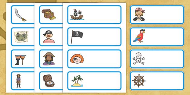 Editable Drawer - Peg - Name Labels (Pirates) - Pirate Label
