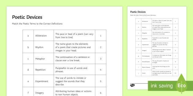 Gcse Poetic Devices Match And Draw Poetry Poetic Devices Match