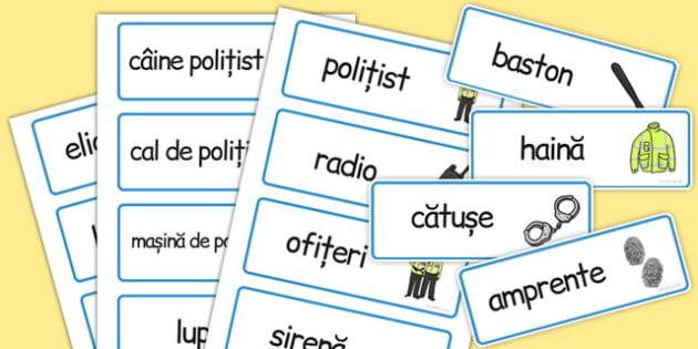 Poliția - Cartonașe pentru joc de rol - poliția, cartonașe, joc de rol, cuvinte, joc, limba română, meserii, lexic, romanian, materiale, materiale didactice, română, romana, material, material didactic