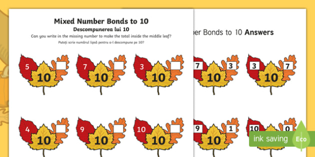 Autumn Leaf Mixed Number Bonds to 10 Activity Sheet English/Romanian