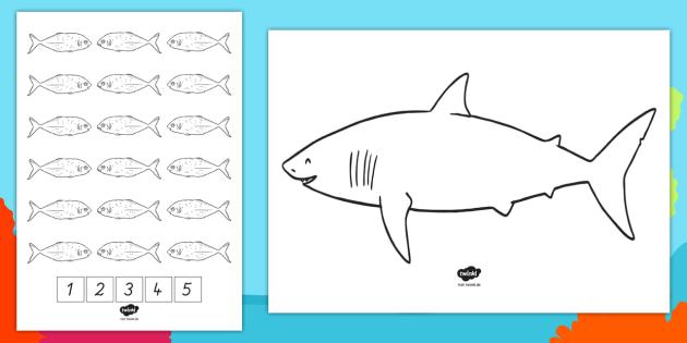 NEW * Fünf kleine Fische Arbeitsblatt - Fünf kleine Fische