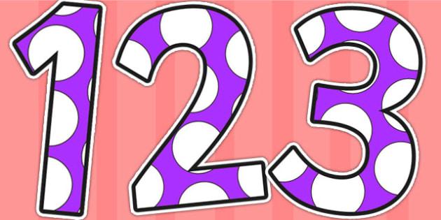 Purple and White Spots Display Numbers - display numbers, purple, white