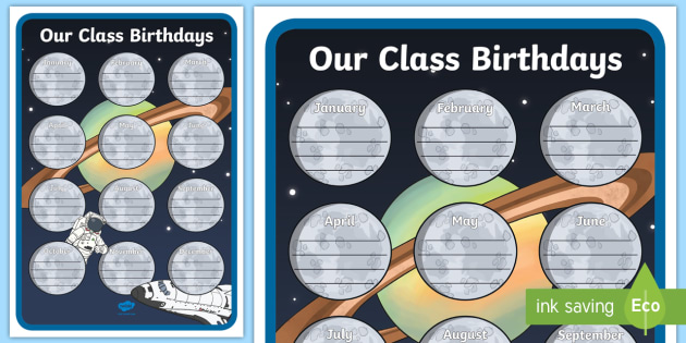 Space Themed Our Class Birthday Chart Display Poster