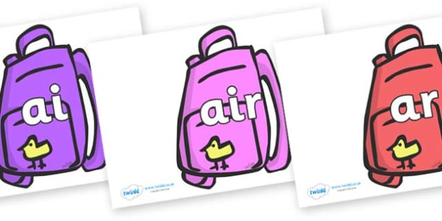 Phase 3 Phonemes on Backpacks - Phonemes, phoneme, Phase 3, Phase three, Foundation, Literacy, Letters and Sounds, DfES, display