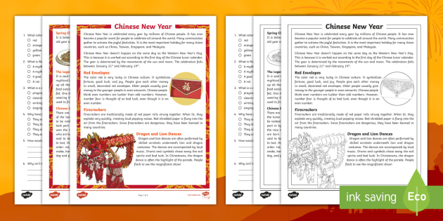 fourth grade chinese new year reading comprehension activity. Black Bedroom Furniture Sets. Home Design Ideas
