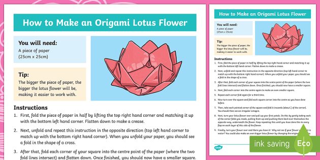 KS2 Origami Lotus Flower Craft Instructions