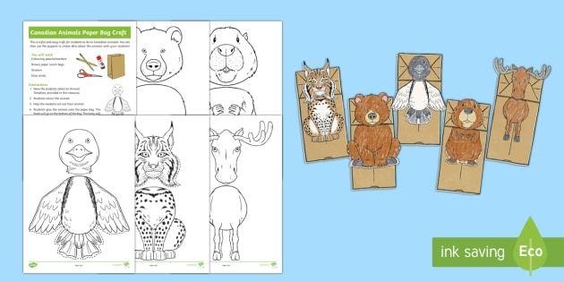 Canadian Animals Paper Bag Craft Instructions - Great Canadian Animals, animals, Canada, puppet, puppets, paper bag, craft