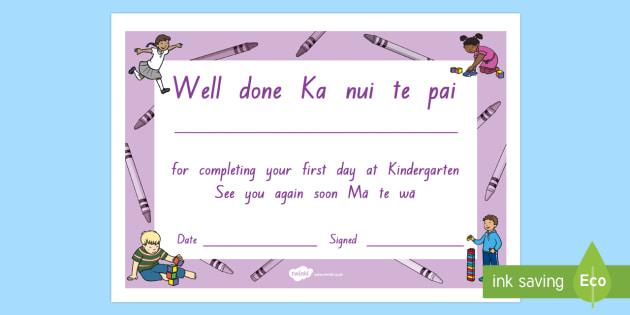 First day at Kindergarten Certificate Te Reo Maori/English