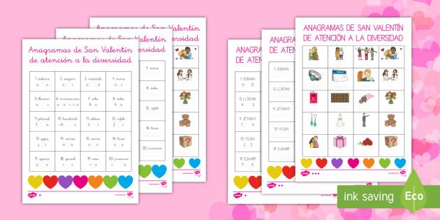 Anagramas de San Valentín de atención a la diversidad - San Valentín, anagramas, ordenar, letras, palabras, vocabulario,Spanish