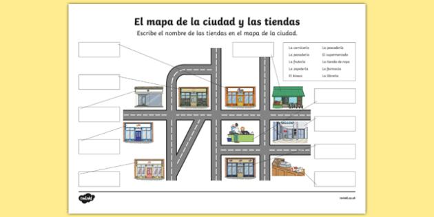 shops in town map worksheet activity sheet spanish worksheet. Black Bedroom Furniture Sets. Home Design Ideas