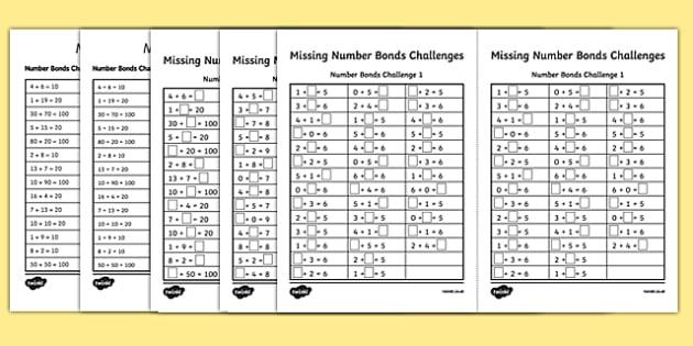 Missing Number Bonds Challenges Worksheet / Activity Sheet Pack - missing number, number bonds, challenges, worksheet / activity sheet, worksheet