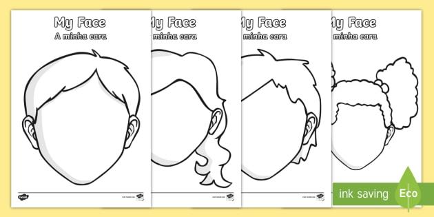 Blank Faces Templates   English/Portuguese   Blank Faces Templates   Face,  Features,  Blank Face Templates