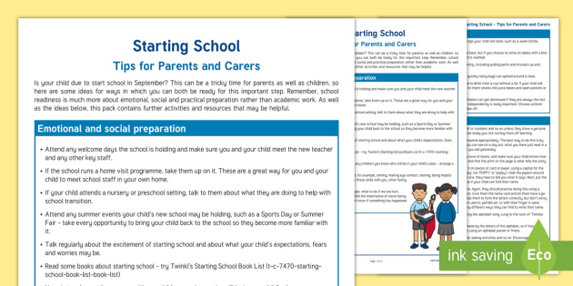 Starting School Hints and Tips Parent and Carer Information