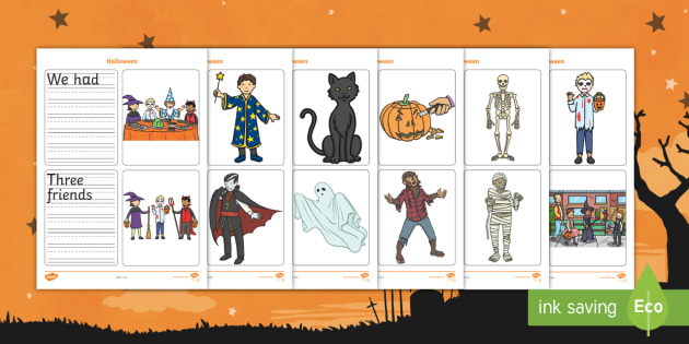 Halloween Simple Sentence Writing Prompt Pictures Activity