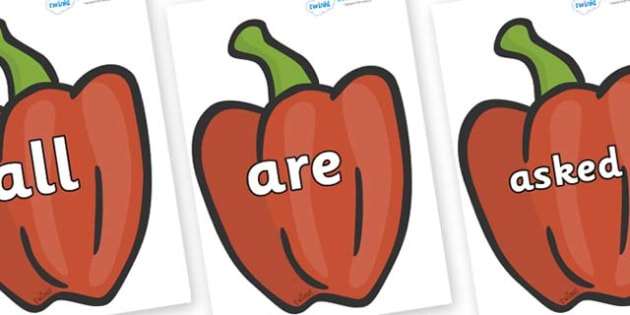 Tricky Words on Peppers (Plain) - Tricky words, DfES Letters and Sounds, Letters and sounds, display, words