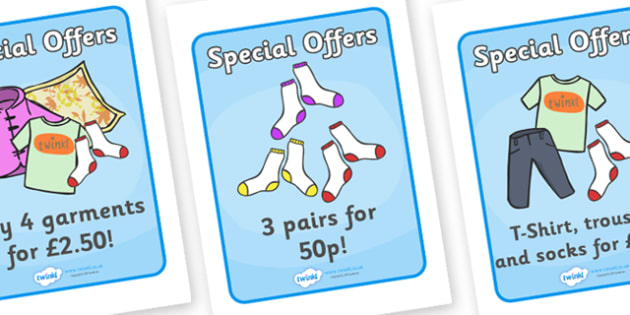 Laundrette Role Play Special Offers Display Posters - washing, laundrette, washing machine, special offers, offer, display, poster, banner, sign, wash, washing powder, clothes, socks, T-shirt, trousers