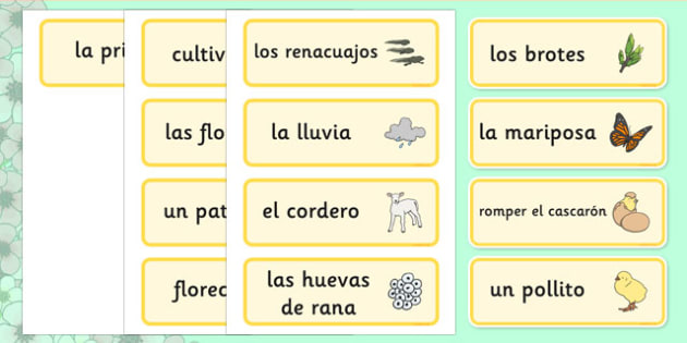 Tarjetas de vocabulario La Primavera - spring, word cards, primavera, vocabulario, estaciones