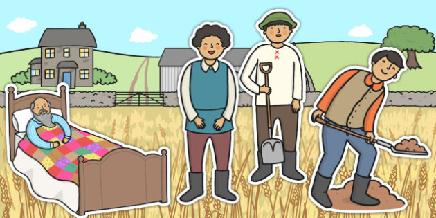 The Farmer and His Sons Stick Puppets - role play, props, fables