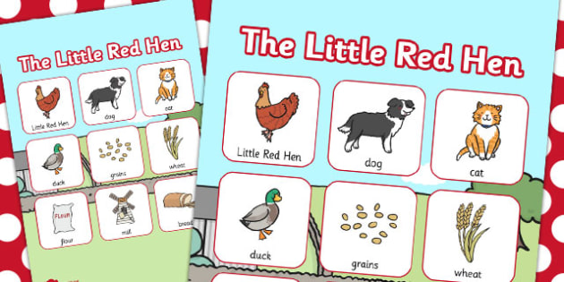 The Little Red Hen Vocabulary Poster - little red hen, vocabulary