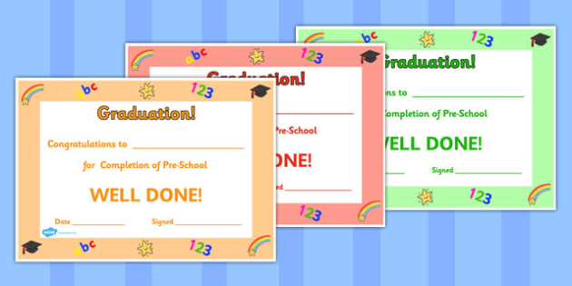 Pre-School Graduation Certificates - pre-school, certificates, school, certificates