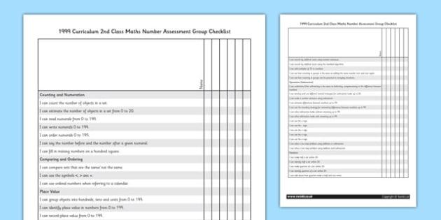 1999 Curriculum 2nd Class Maths Number Assessment Group Checklist - roi, irish, republic of ireland