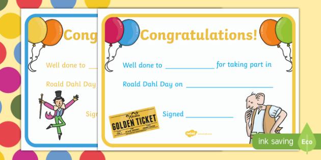 Roald Dahl 100: I Took Part In Roald Dahl Day Certificates