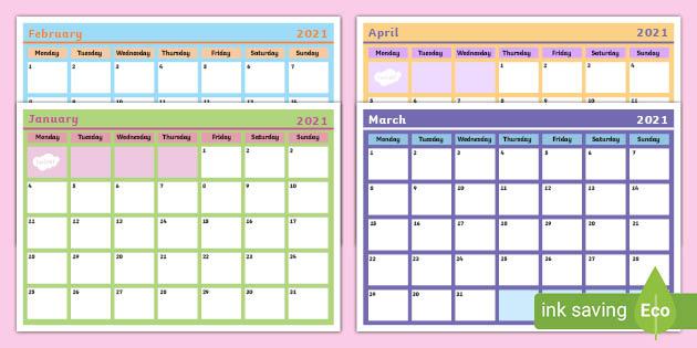Blank Monthly Calendar Planning Template 2021 (teacher made)