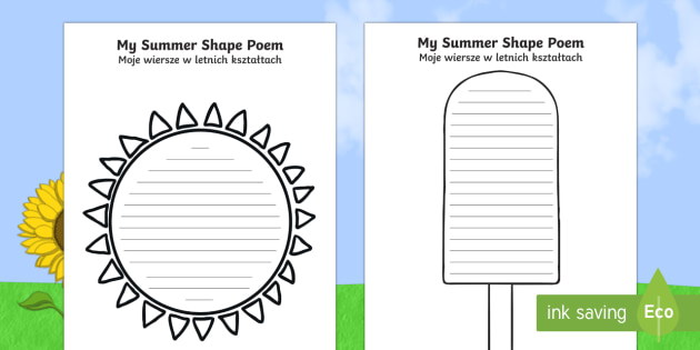 Summer Shape Poetry Templates English/Polish - seasons, weather, poems, poem, EAL,Polish-translation