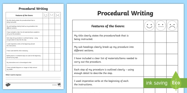 Procedural Writing Self Assessment Sheet  Success Criteria