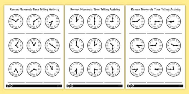T-N-2996-Roman-Numerals-Time-Telling-Activity_ver_1 Clock Worksheets With Roman Numerals on face template, template printable, face tattoo, black white, face stencil, face clip art, face midnight, template hd,