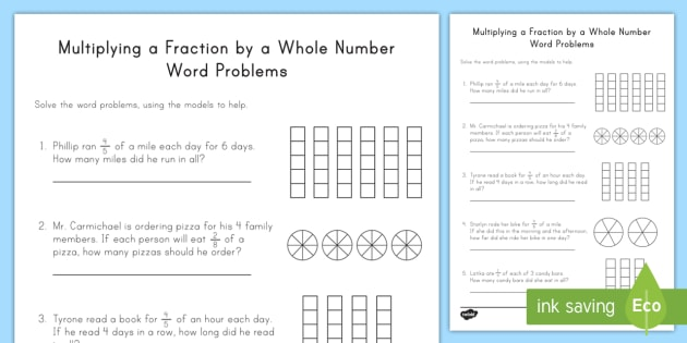 Multiplying Fractions by Whole Numbers Word Problems with Models ...