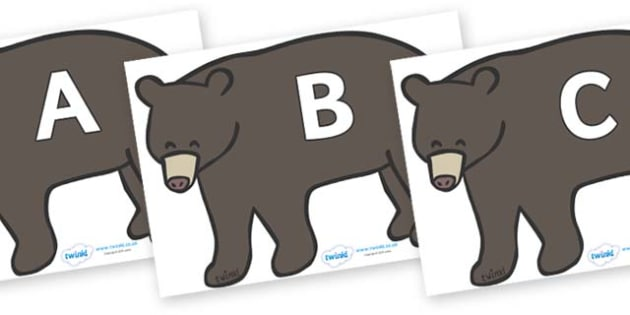 A-Z Alphabet on Grizzly Bears - A-Z, A4, display, Alphabet frieze, Display letters, Letter posters, A-Z letters, Alphabet flashcards