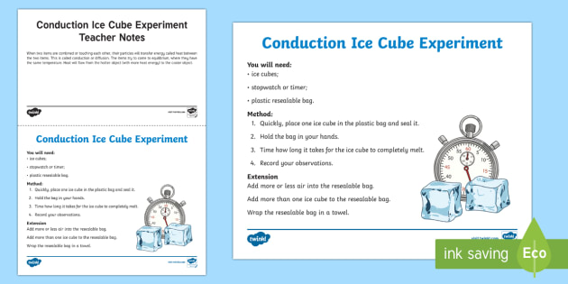 Conduction Ice Cube Science Experiment - conduction, diffusion, heat movement, heat transfer, transferring heat, heat moves, melting, ice mel