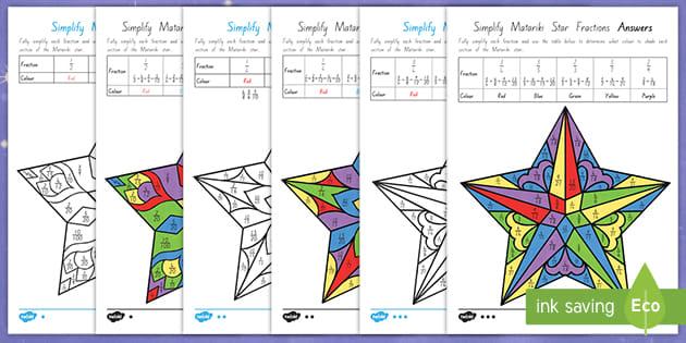 Matariki Simplifying Fractions Worksheets