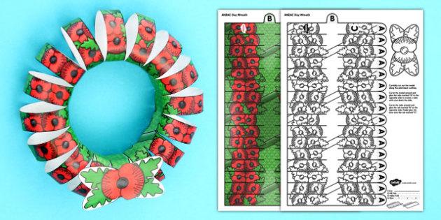 3D ANZAC Day Poppy Wreath - Anzac Day, Poppy, Wreath, New Zealand, history