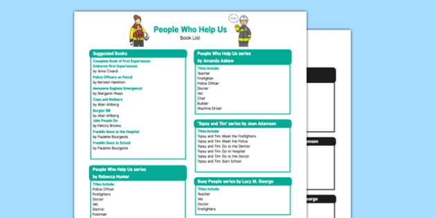 People Who Help Us Book List - EYFS, Early years, books, story, stories, emergency services, people who help us