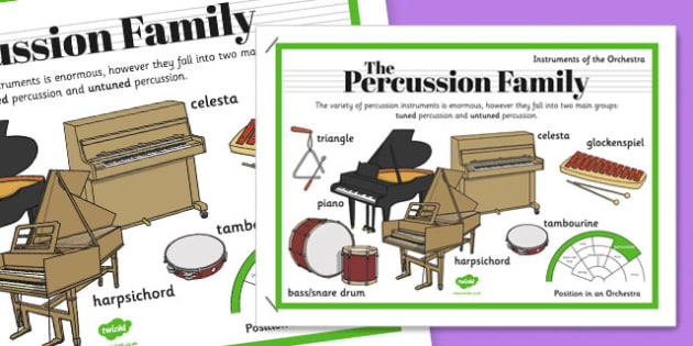 Orchestra Instruments Percussion Family Poster - orchestra, instruments, percussion, family, poster