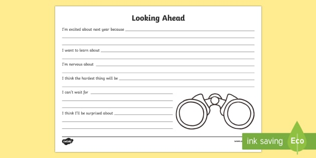 Looking Ahead Activity Sheet - End of Year, Back to School, Australia, end of year, looking ahead, look ahead, binoculars, workshee