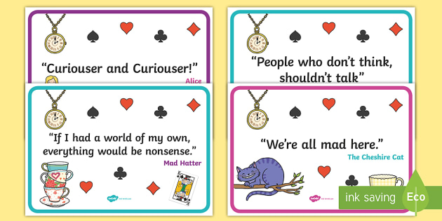 Alice In Wonderland Quotes Display Posters Alice In Wonderland