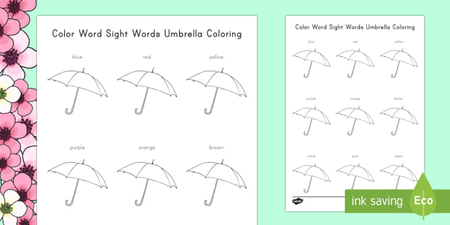 Color Words, Sight Words Umbrella Coloring Worksheet / Activity