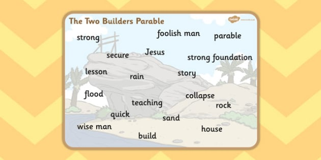 The Two Builders Word Mat - parables, two builders, builders
