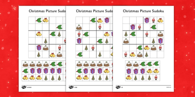 Differentiated Christmas Picture Sudoku 6x6 - differentiated, christmas, picture, sudoku, 6x6