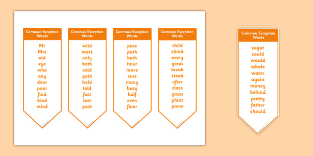 Common Exception Words Year 2 Bookmark Editable - common exception words, year 2, bookmark, editable
