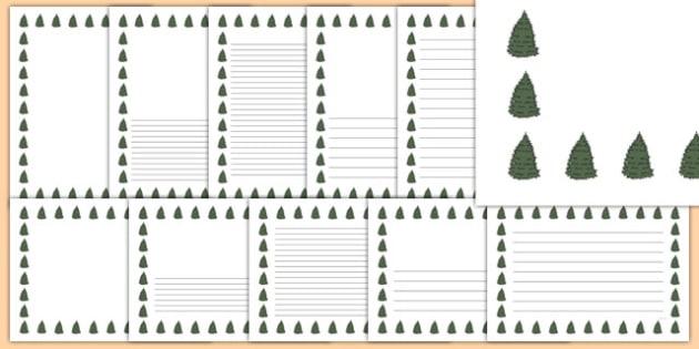 Fir Tree Themed Page Borders - fir tree, themed, page borders, page, borders