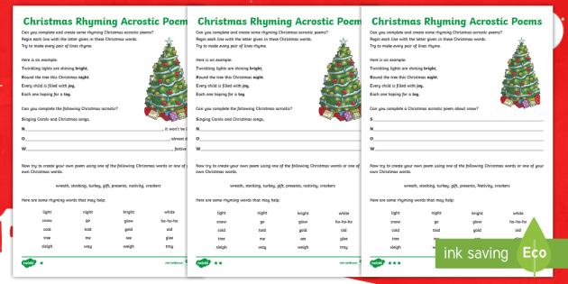 rhyming christmas acrostic poems differentiated worksheet activity sheets poetry poem acrostic