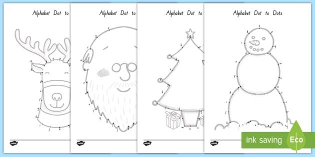 Christmas-Themed Alphabet Dot To Dot Worksheet / Worksheet