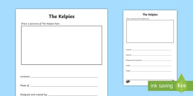 CfE The Kelpies Pupil Fact File - Scottish Landmarks,factfile, Kelpies, research, template, CfE, Pupil research,,Scottish
