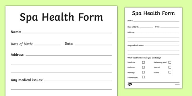 The Spa Role Play Health Form - spa, role play, the spa, health and wellbeing, health form